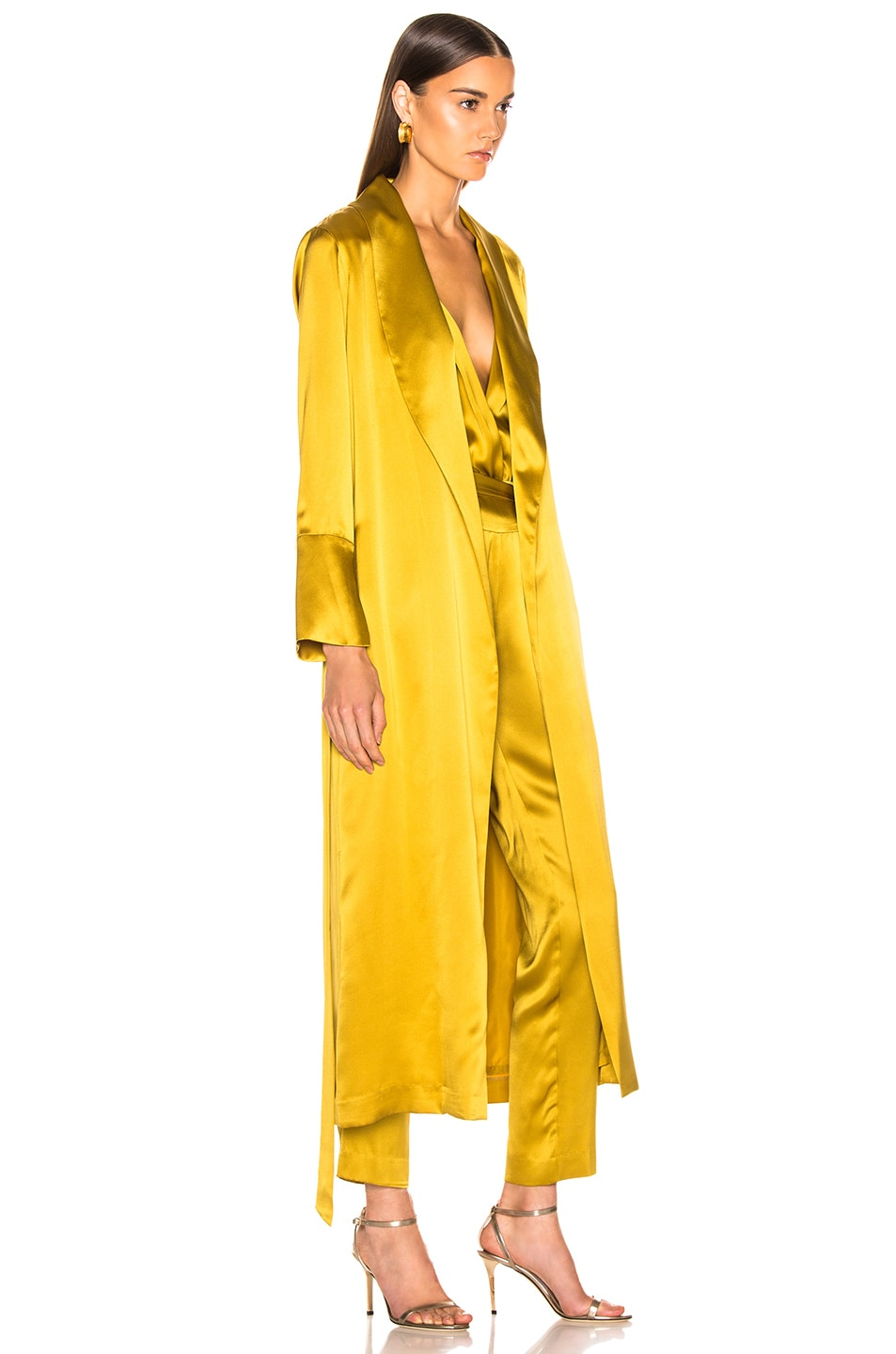 Image 3 of Michelle Mason Trench Coat With Flare Cuffs in Citron