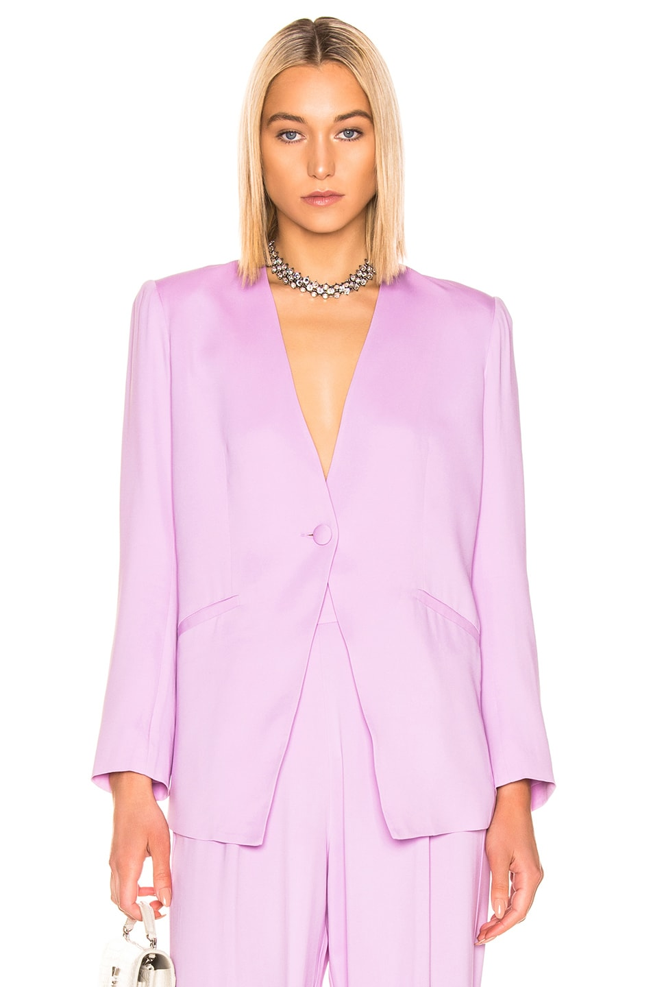 Image 1 of Michelle Mason Collarless Jacket in Lilac