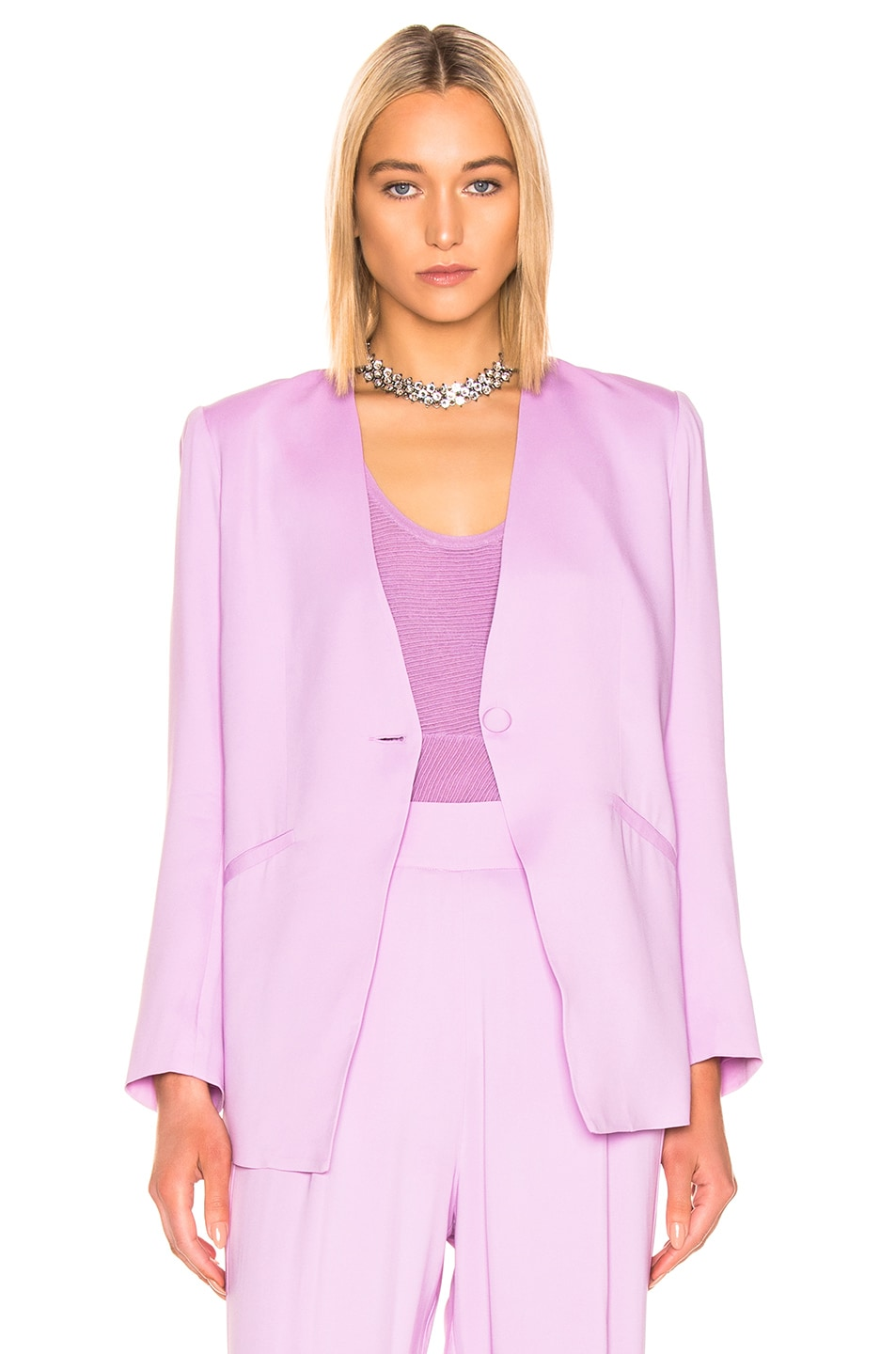 Image 2 of Michelle Mason Collarless Jacket in Lilac