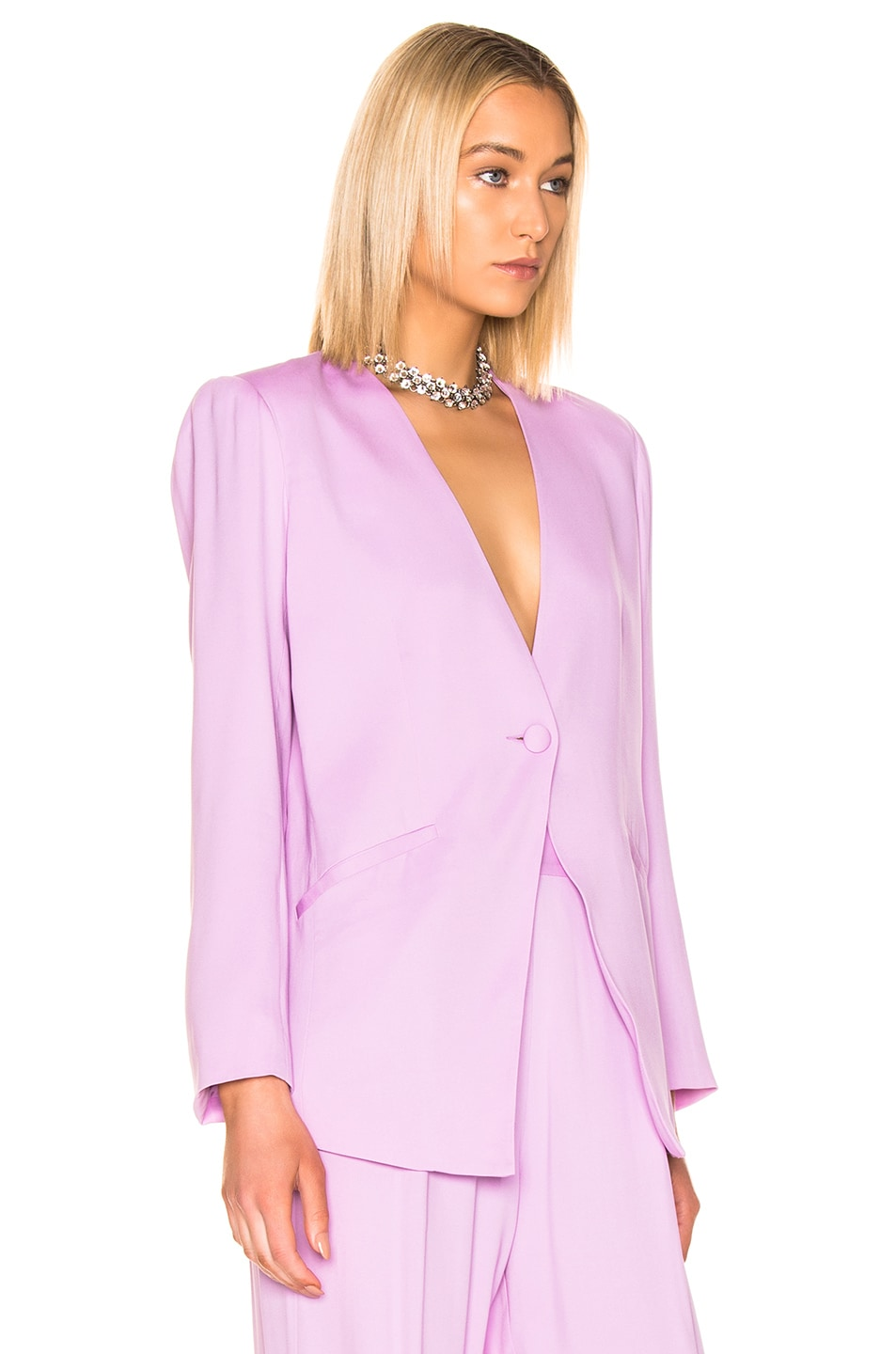Image 3 of Michelle Mason Collarless Jacket in Lilac