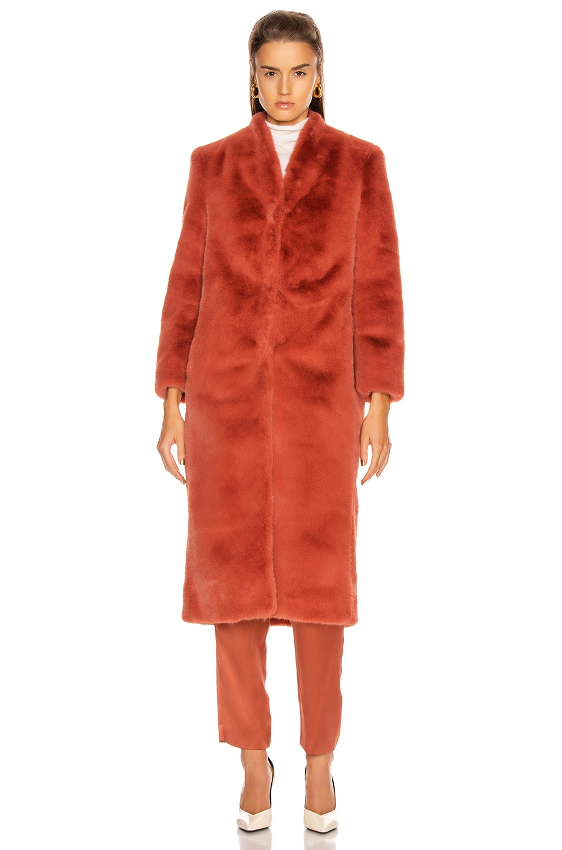 Image 2 of Michelle Mason Faux Fur Coat in Dune