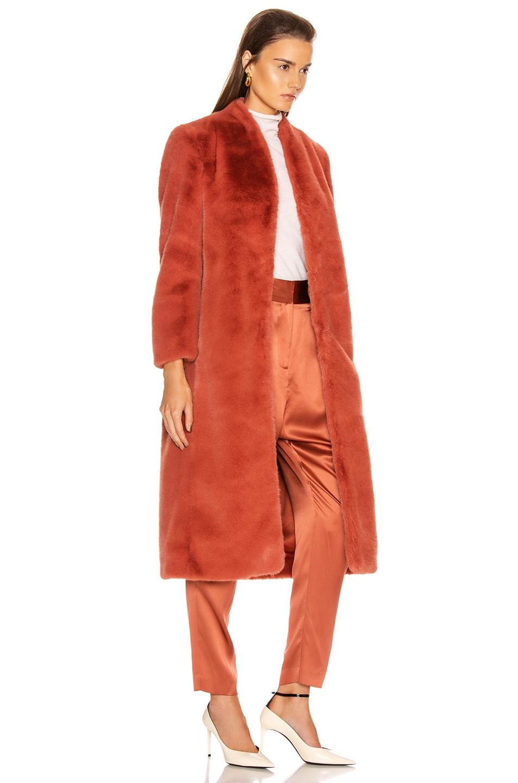 Image 3 of Michelle Mason Faux Fur Coat in Dune