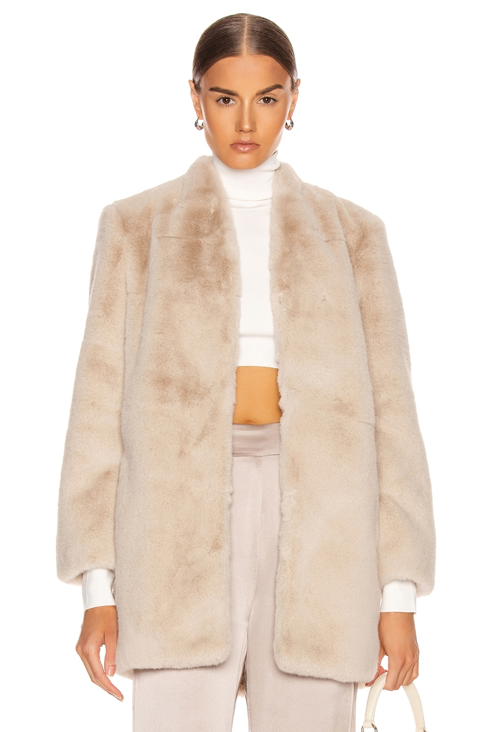 Image 1 of Michelle Mason Faux Fur Car Coat in Oyster