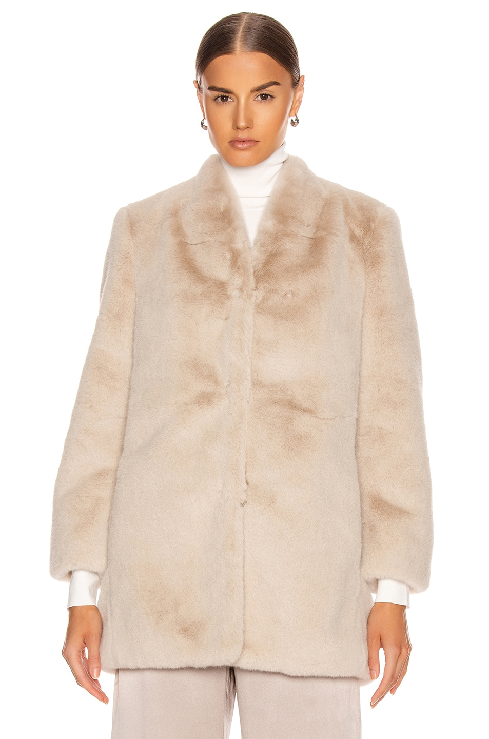 Image 2 of Michelle Mason Faux Fur Car Coat in Oyster