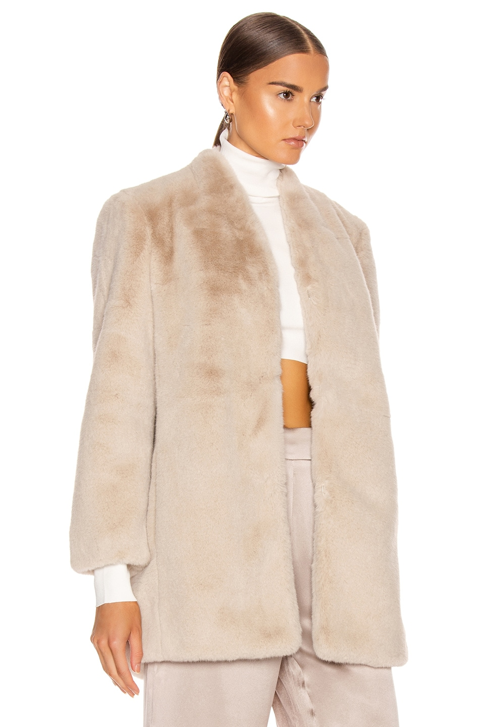 Image 3 of Michelle Mason Faux Fur Car Coat in Oyster