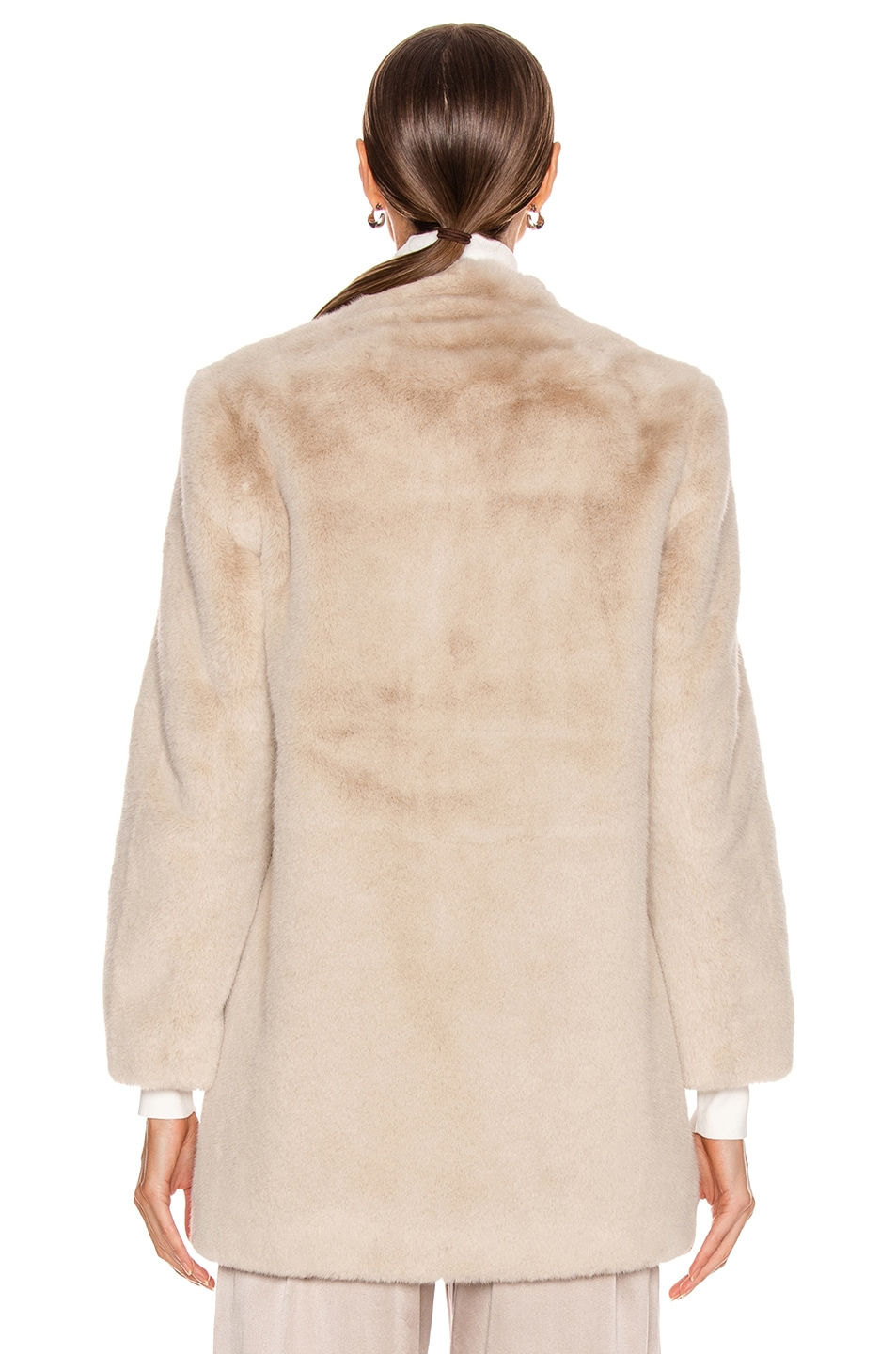 Image 4 of Michelle Mason Faux Fur Car Coat in Oyster
