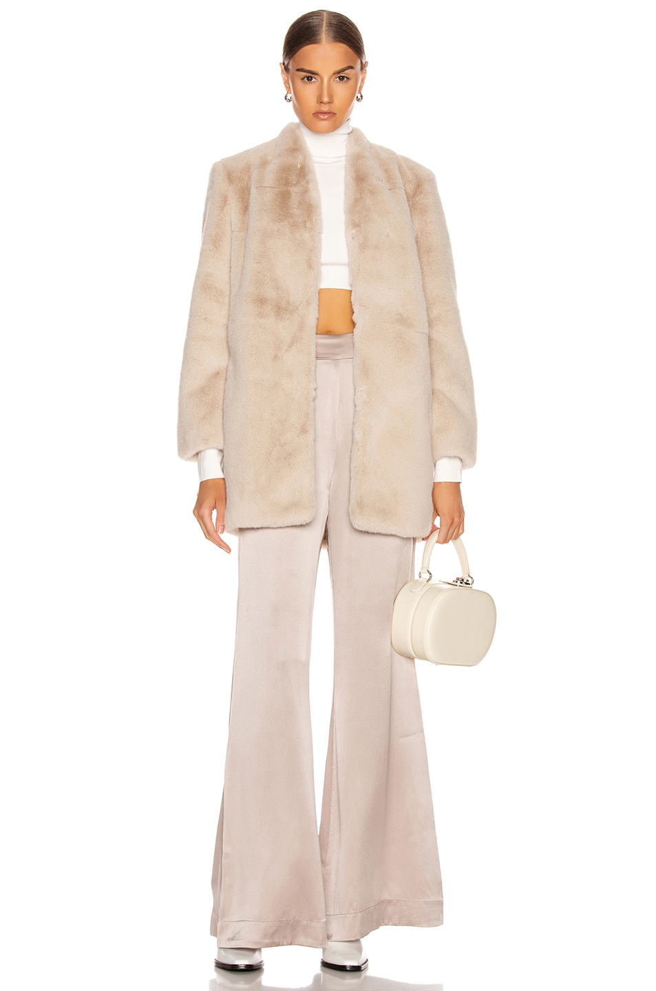 Image 5 of Michelle Mason Faux Fur Car Coat in Oyster
