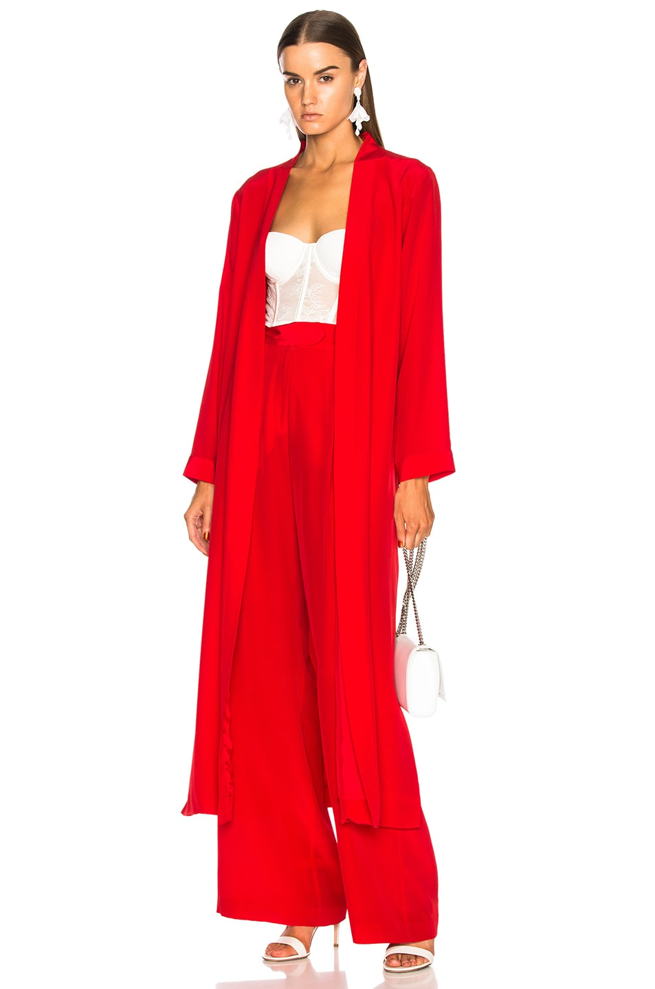 f4979df4e533 Image 1 of Michelle Mason Side Slit Robe in Red