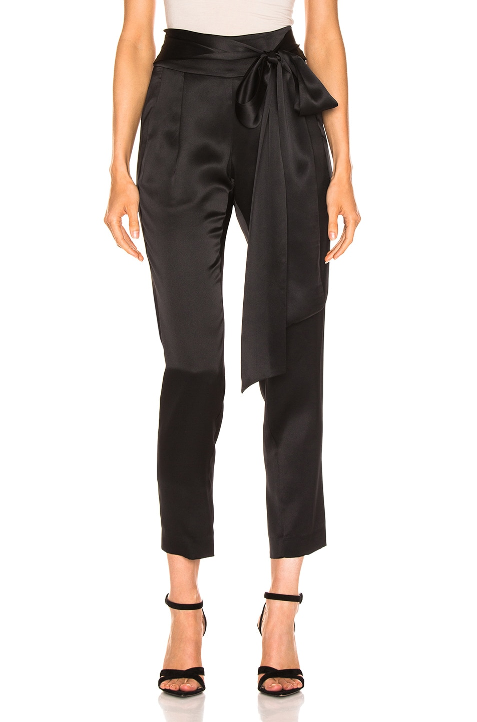 Image 1 of Michelle Mason Pleat Pant With Tie in Black