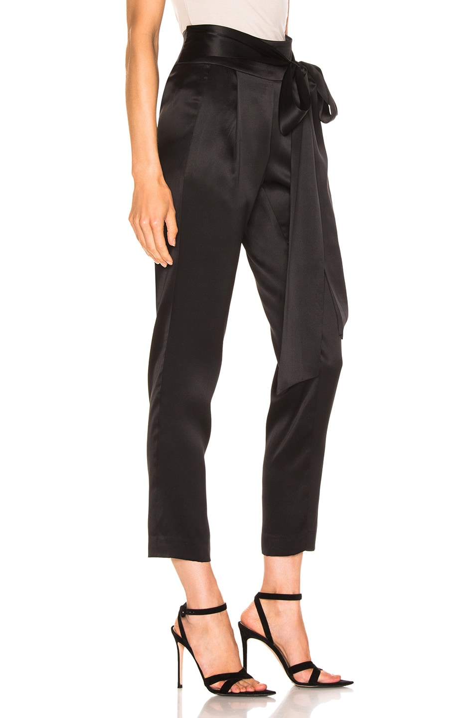 Image 2 of Michelle Mason Pleat Pant With Tie in Black