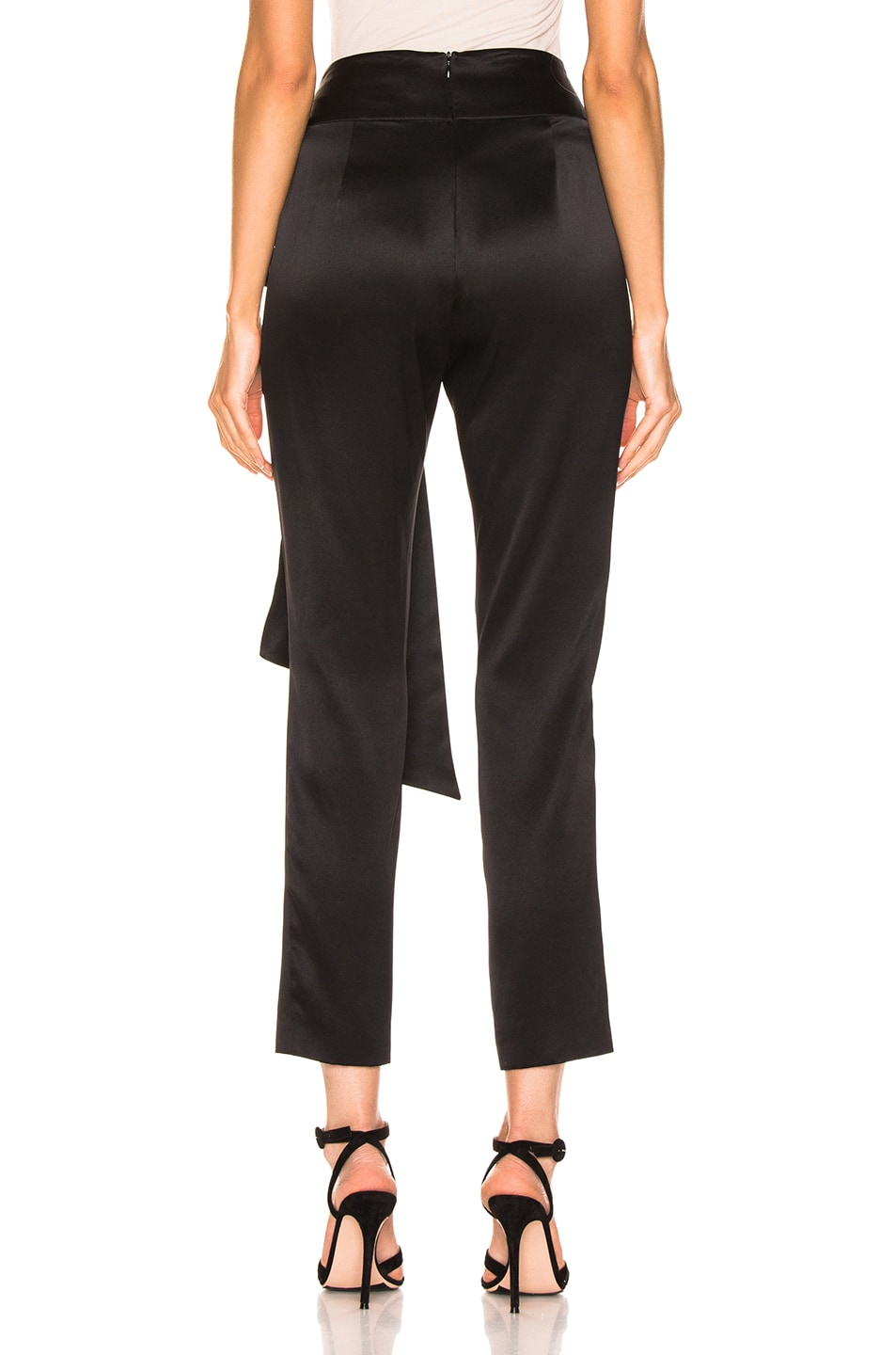 Image 3 of Michelle Mason Pleat Pant With Tie in Black