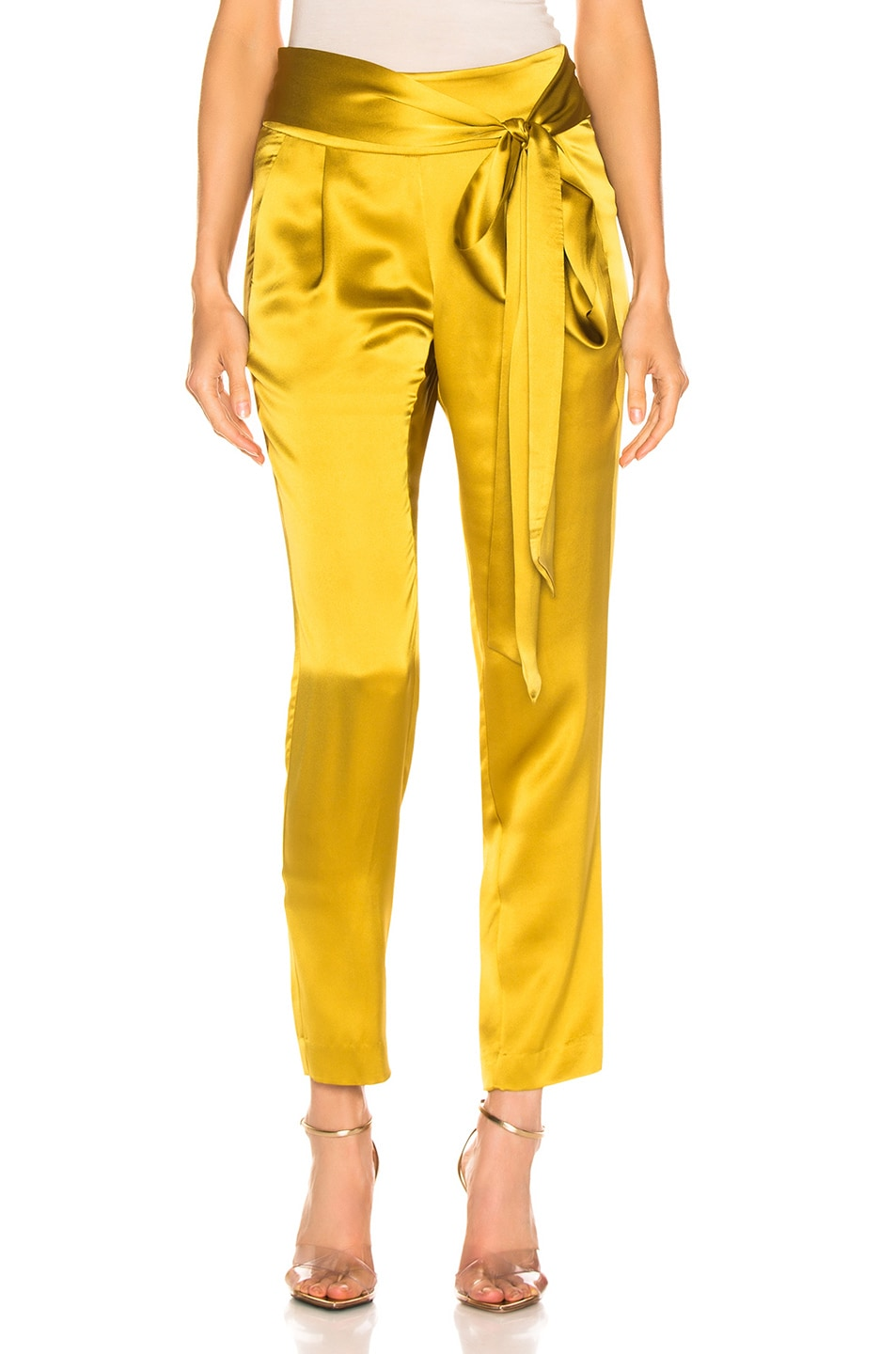 Image 1 of Michelle Mason Pleat Pant With Tie in Citron