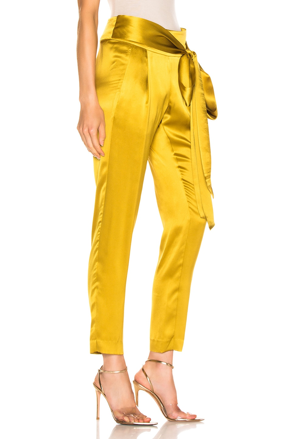 Image 2 of Michelle Mason Pleat Pant With Tie in Citron