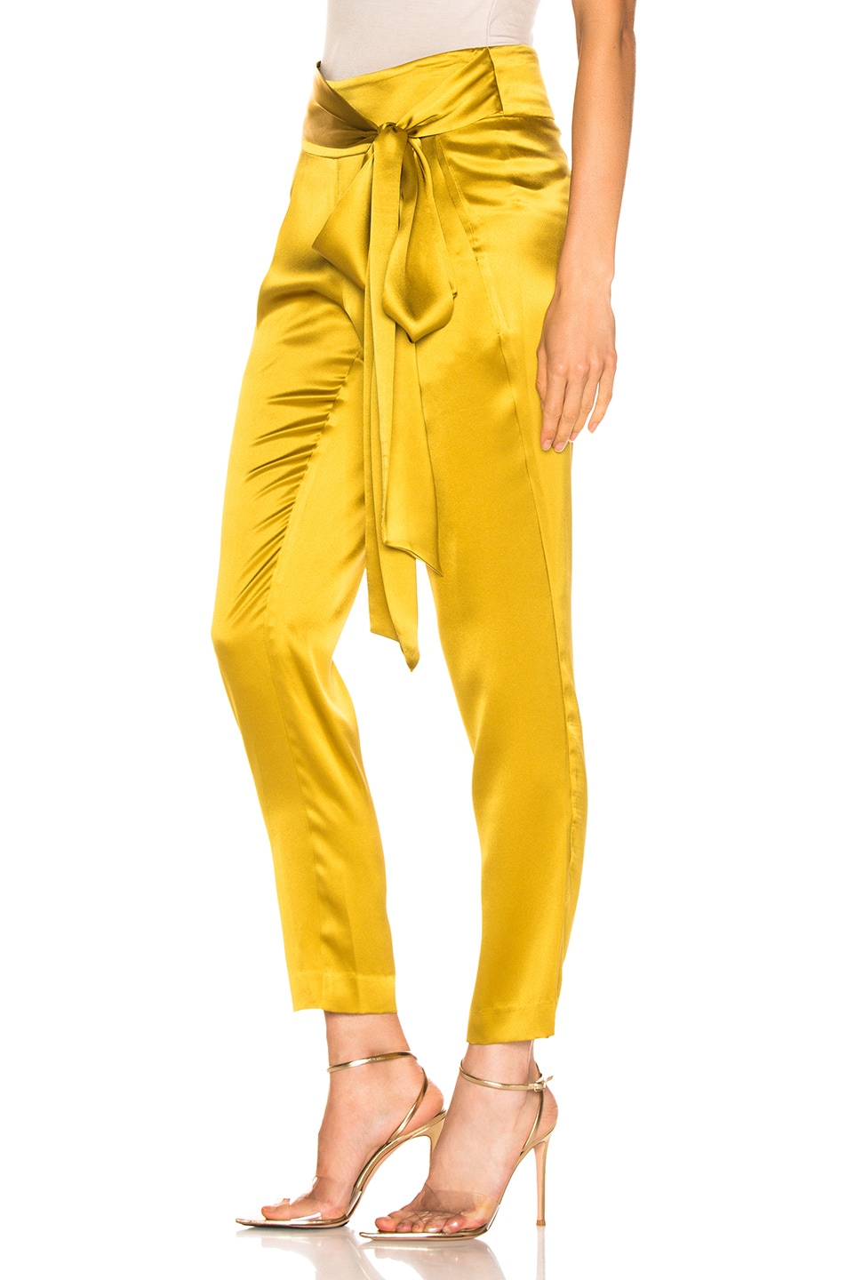 Image 3 of Michelle Mason Pleat Pant With Tie in Citron