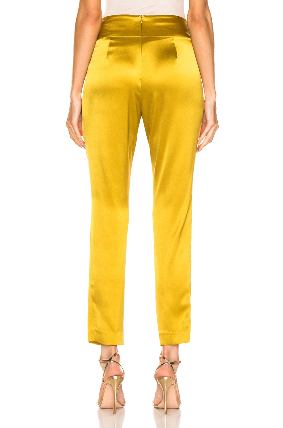 Image 4 of Michelle Mason Pleat Pant With Tie in Citron