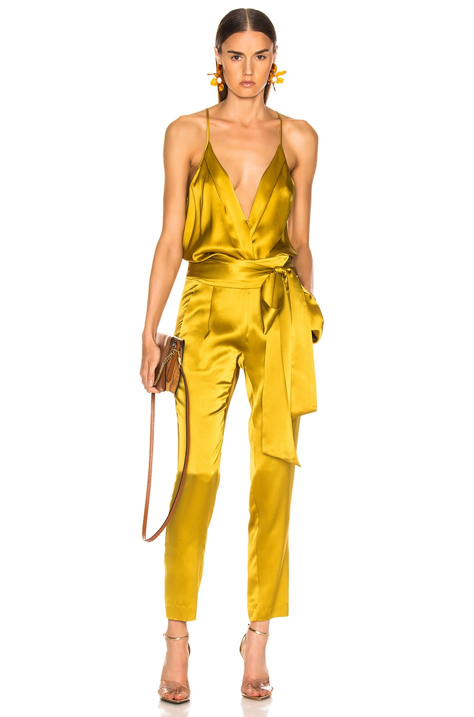 Image 5 of Michelle Mason Pleat Pant With Tie in Citron