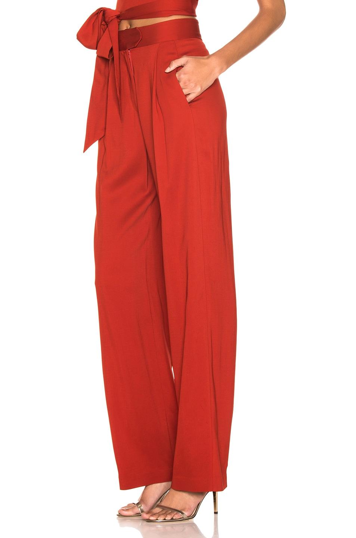 Image 3 of Michelle Mason Wide Leg Trouser in Cayenne