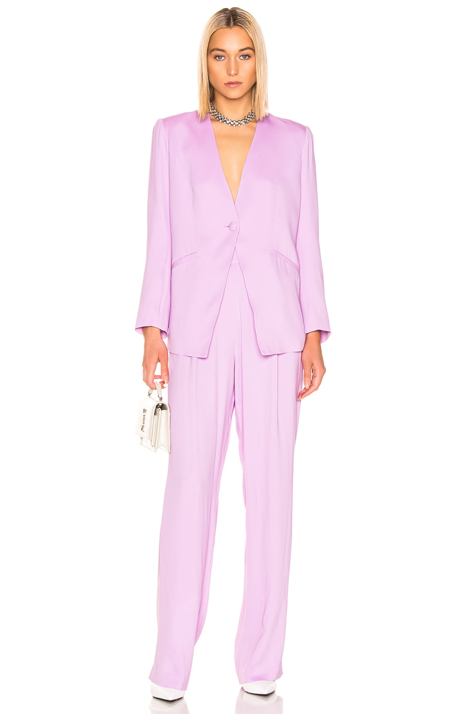 Image 4 of Michelle Mason Wise Leg Trouser in Lilac