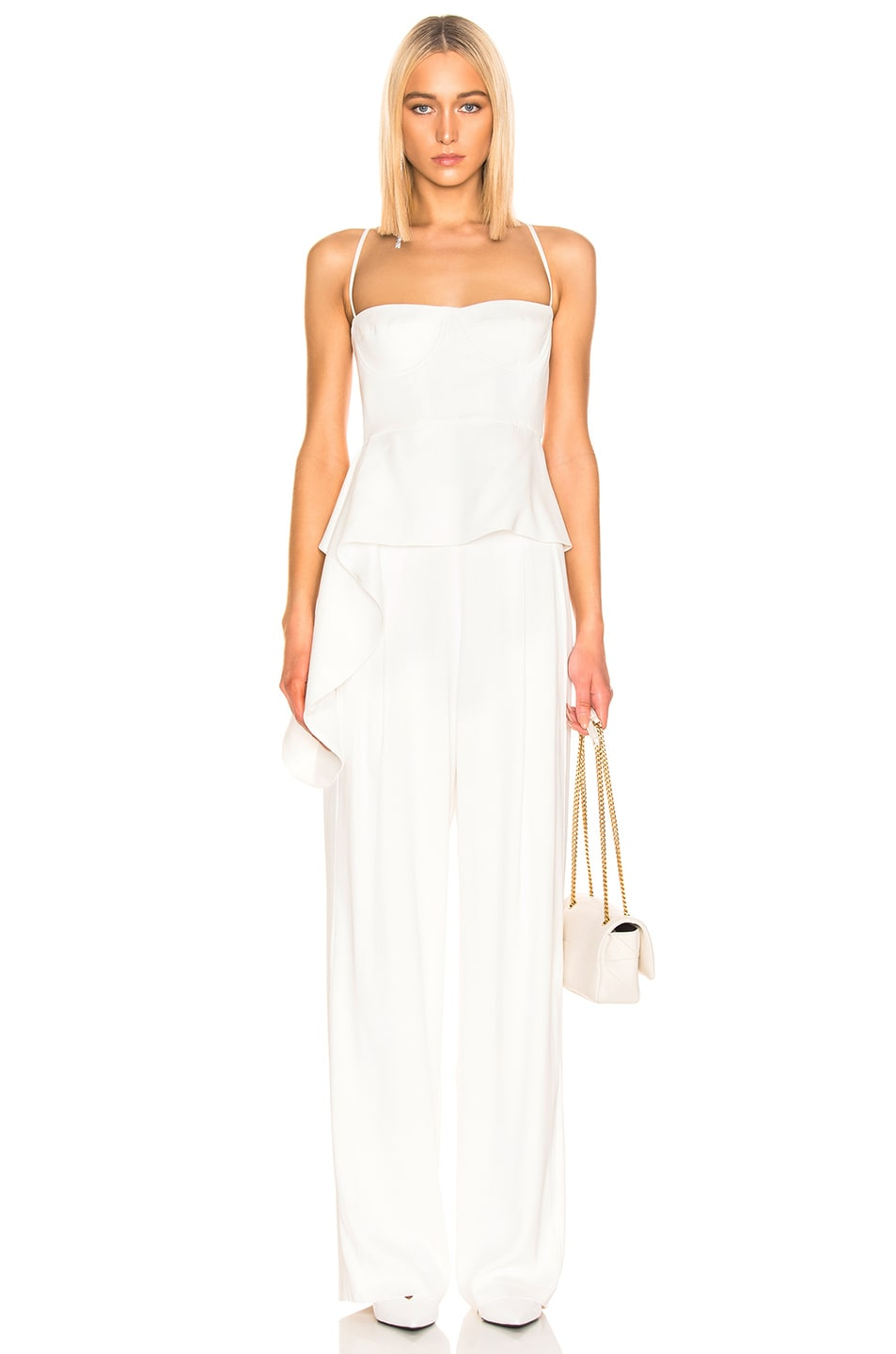 Image 4 of Michelle Mason Wide Leg Trouser in Ivory