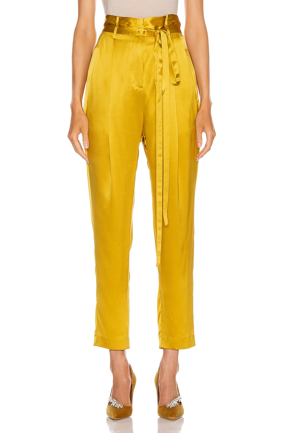 Image 1 of Michelle Mason Paperbag Cropped Trouser in Dijon