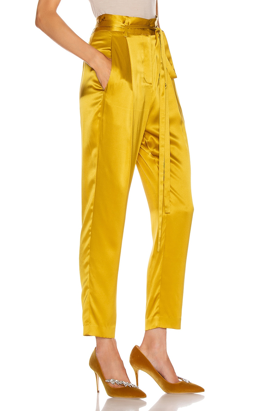 Image 2 of Michelle Mason Paperbag Cropped Trouser in Dijon