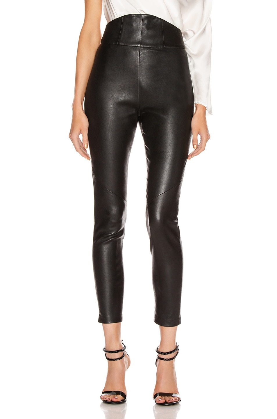 Image 1 of Michelle Mason Corset Leather Trouser in Black