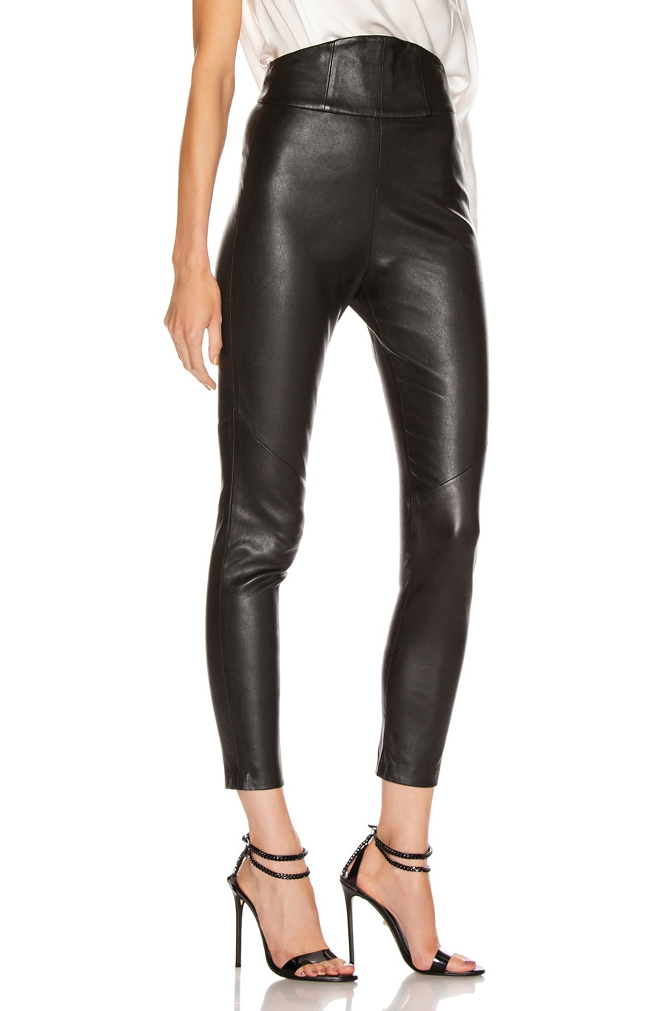 Image 2 of Michelle Mason Corset Leather Trouser in Black