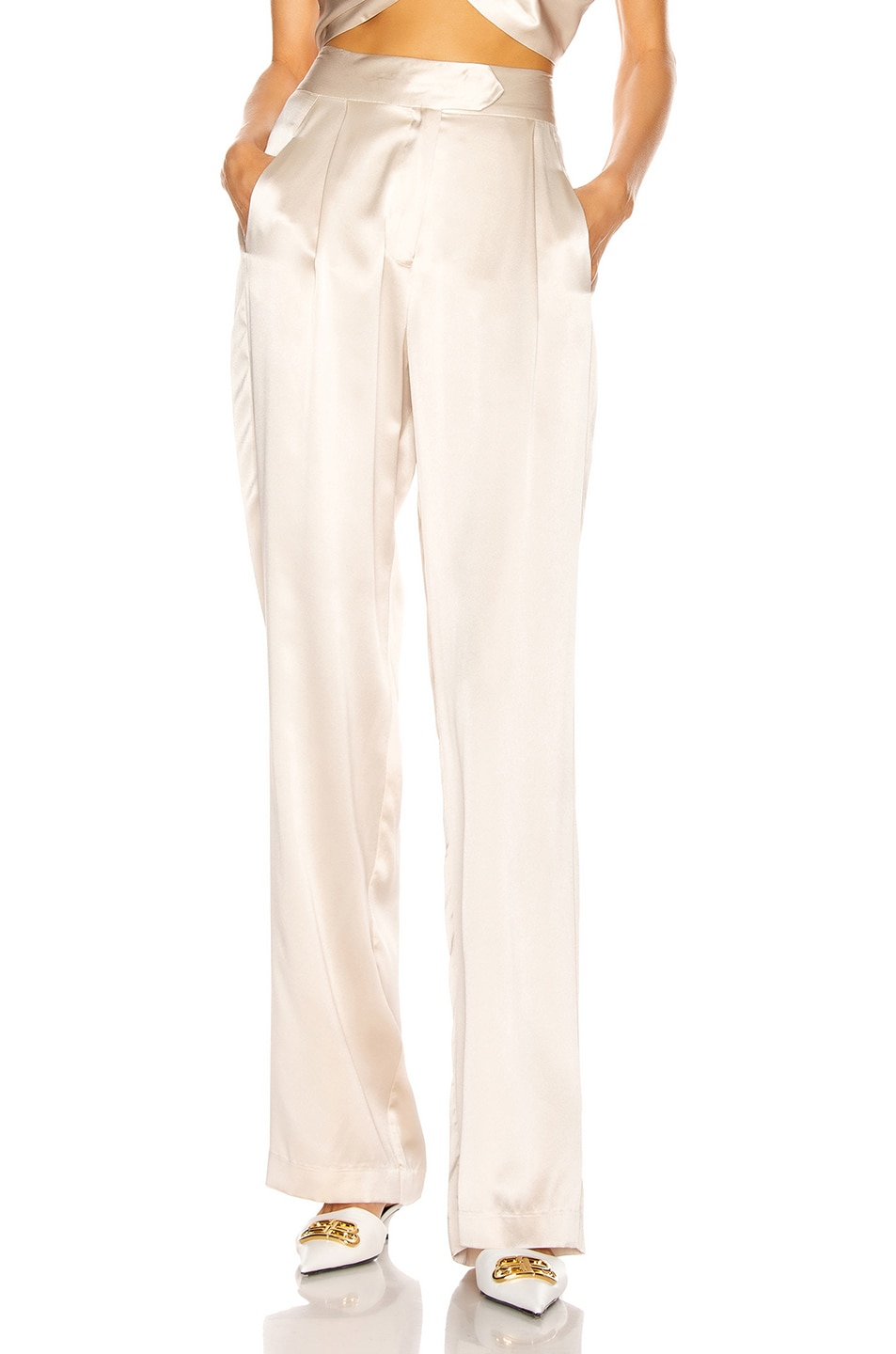Image 1 of Michelle Mason Wide Leg Trouser in Oyster