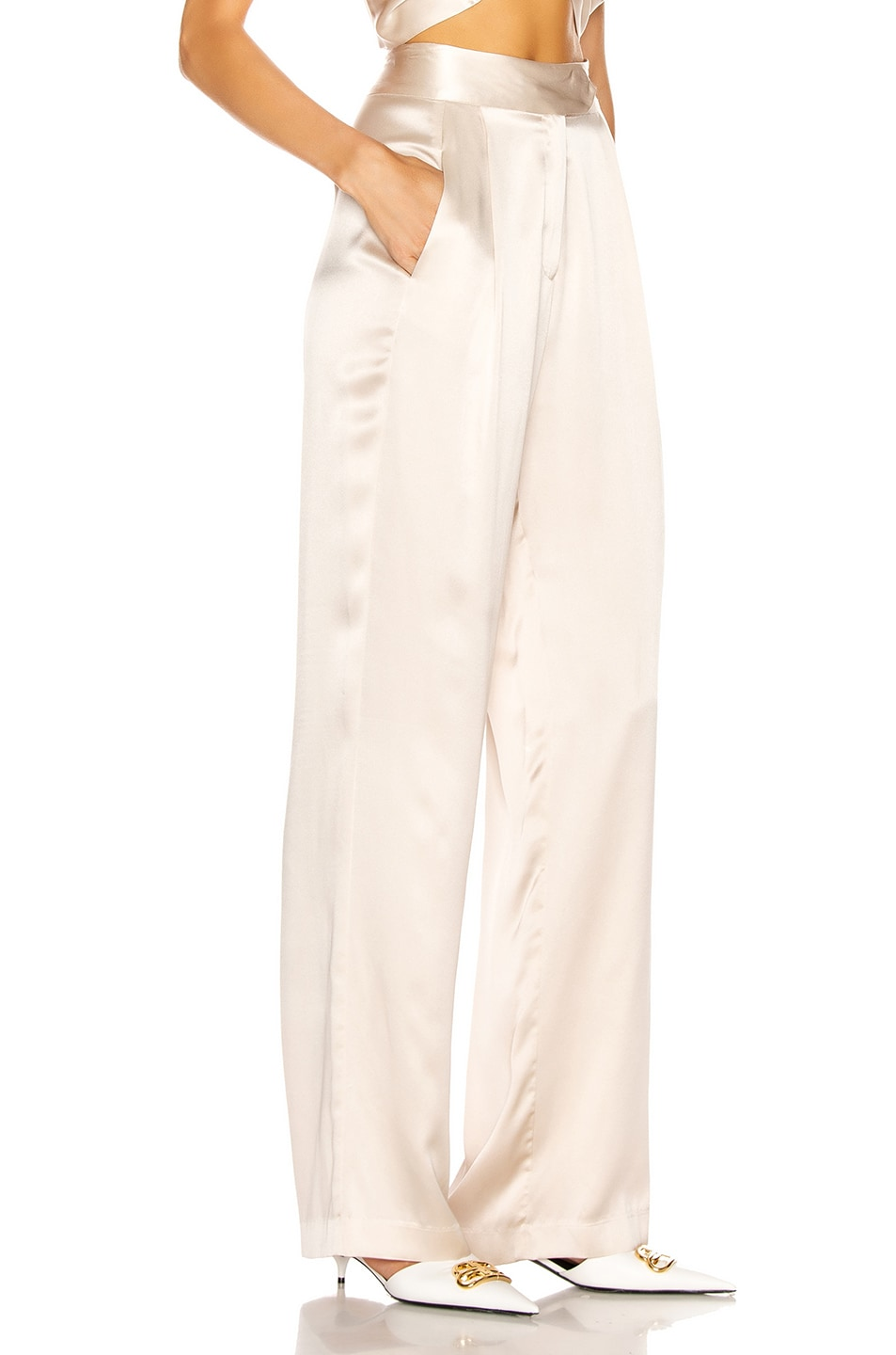 Image 2 of Michelle Mason Wide Leg Trouser in Oyster