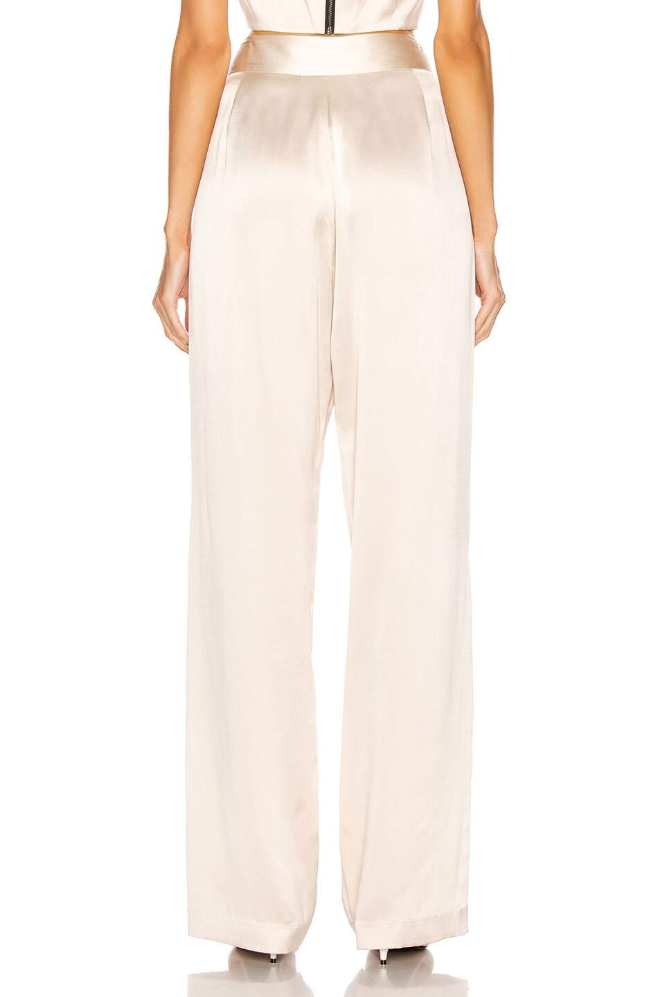 Image 3 of Michelle Mason Wide Leg Trouser in Oyster