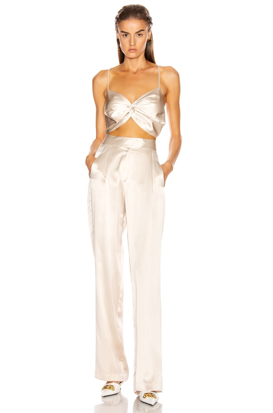 Image 4 of Michelle Mason Wide Leg Trouser in Oyster