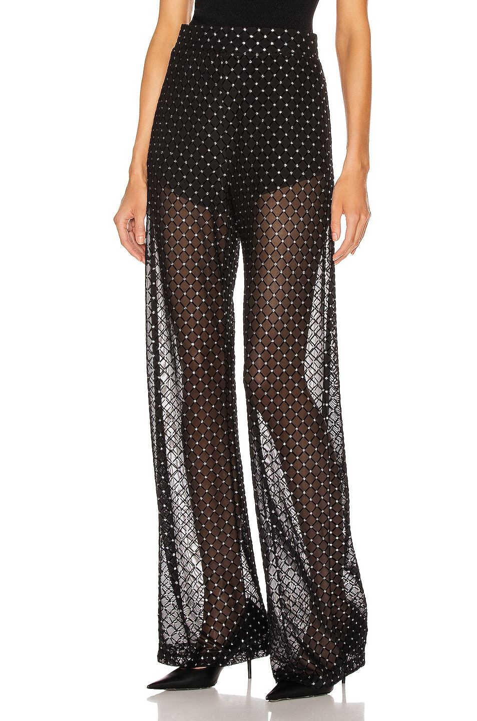 Image 1 of Michelle Mason for FWRD Sheer Pant in Black Shimmer