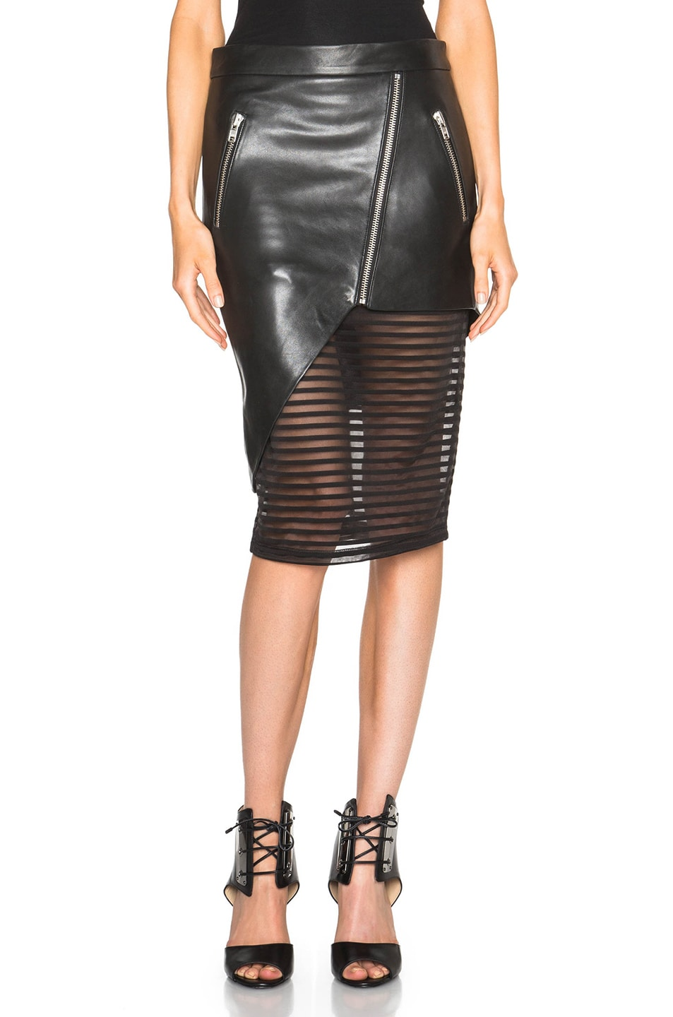 55dadaaf06 Image 1 of Michelle Mason Leather Skirt in Black
