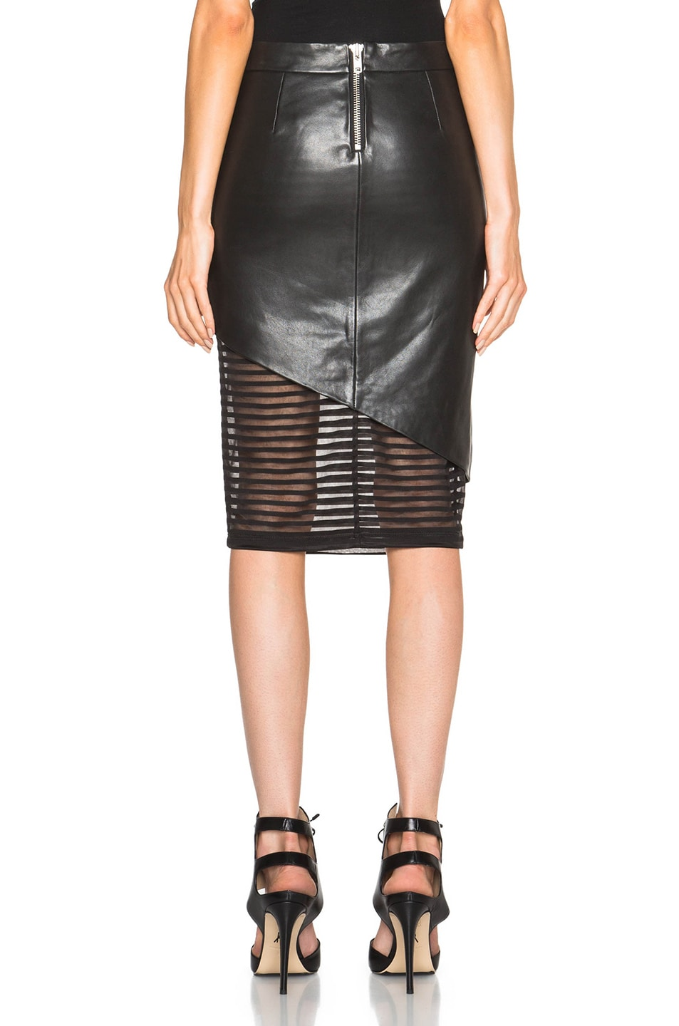 f68e4b9634 Image 4 of Michelle Mason Leather Skirt in Black