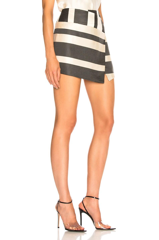 Image 2 of Michelle Mason Mini Skirt in Black Stripe