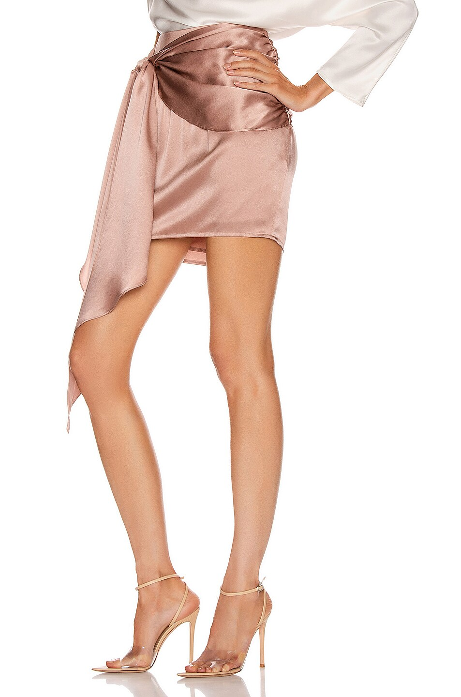 Image 3 of Michelle Mason Mini Sash Skirt in Shell
