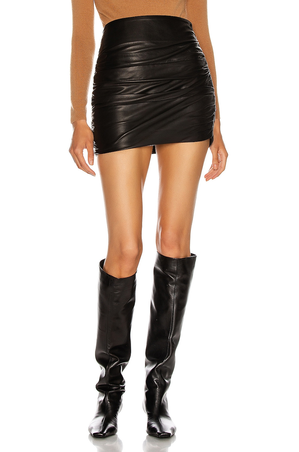 Image 1 of Michelle Mason Ruched Leather Mini Skirt in Black