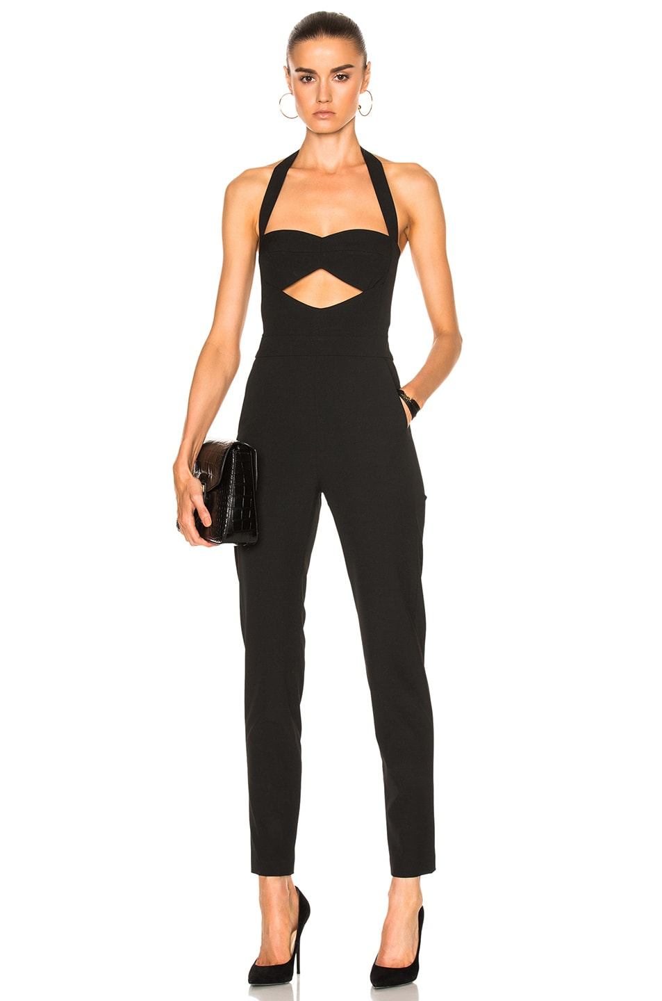 Image 1 of Michelle Mason Cut Out Bandeau Halter Jumpsuit in Black