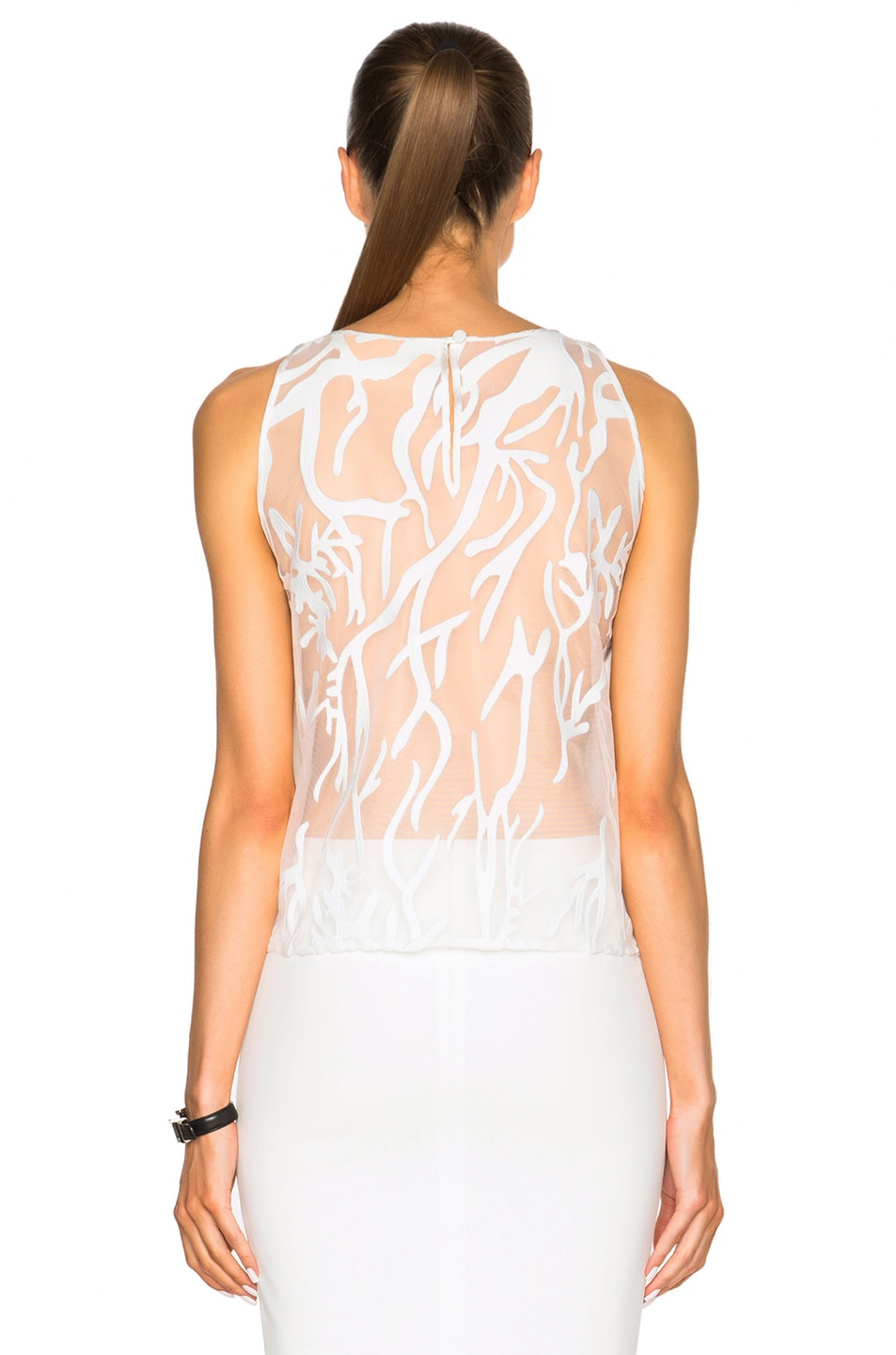 Image 5 of Mason by Michelle Mason Contrast Lace Top in Ivory