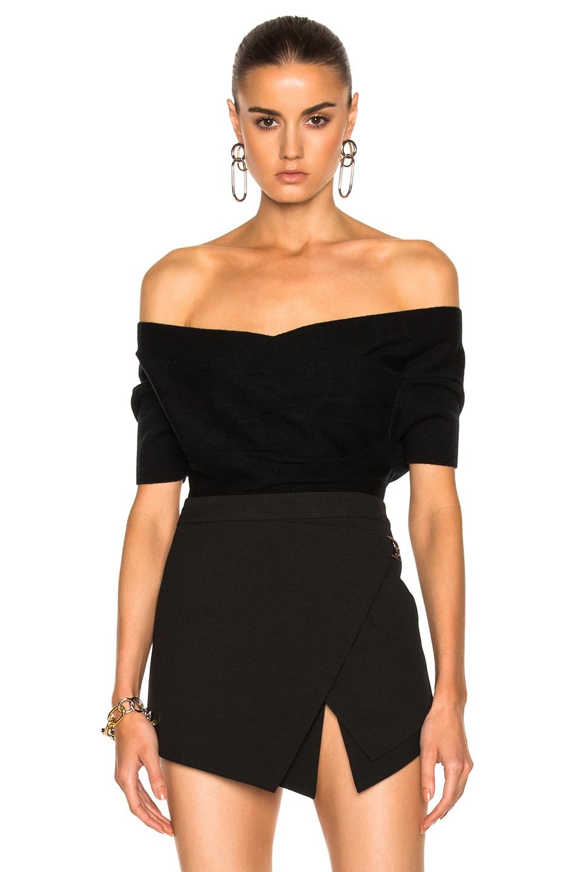 Image 1 of Michelle Mason Short Sleeve Cross Wrap Top in Black