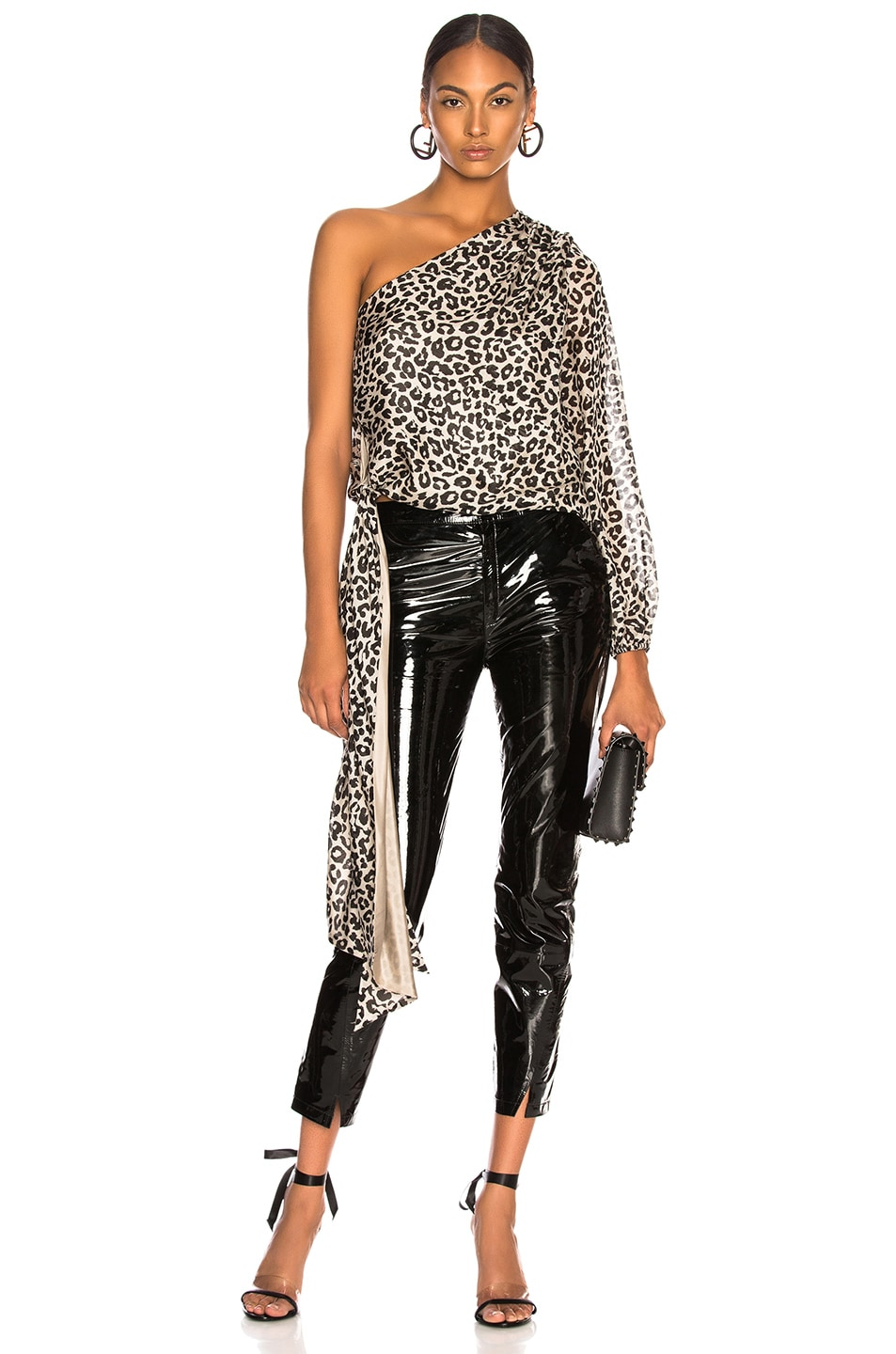 4b8bb5929c75d Image 1 of Michelle Mason One Sleeve Top with Tie in White Leopard
