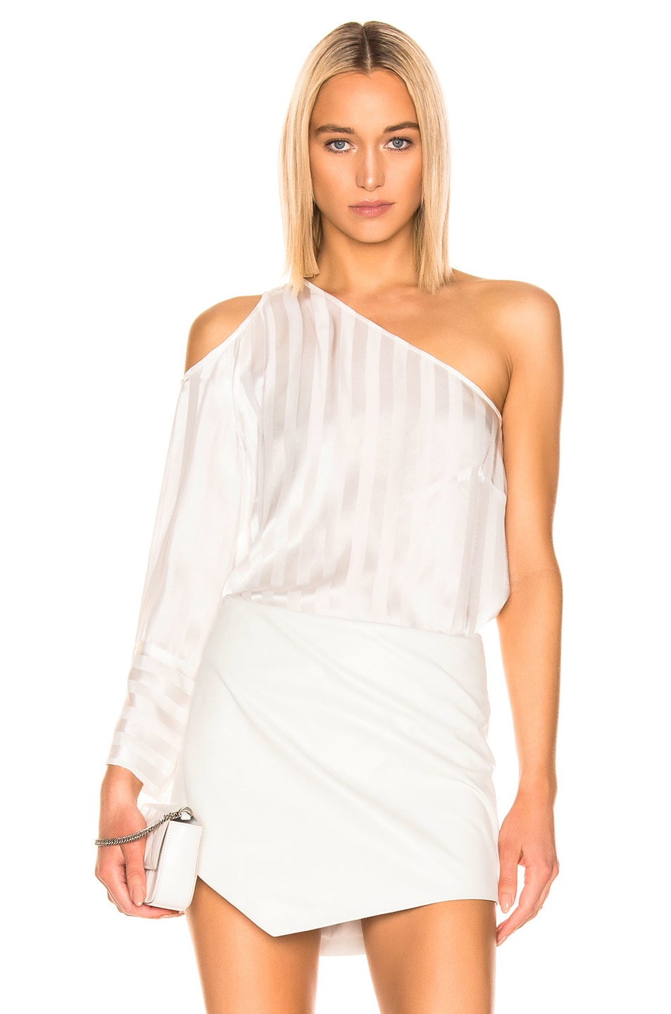 Image 1 of Michelle Mason One Sleeve Cut Out Top in Ivory