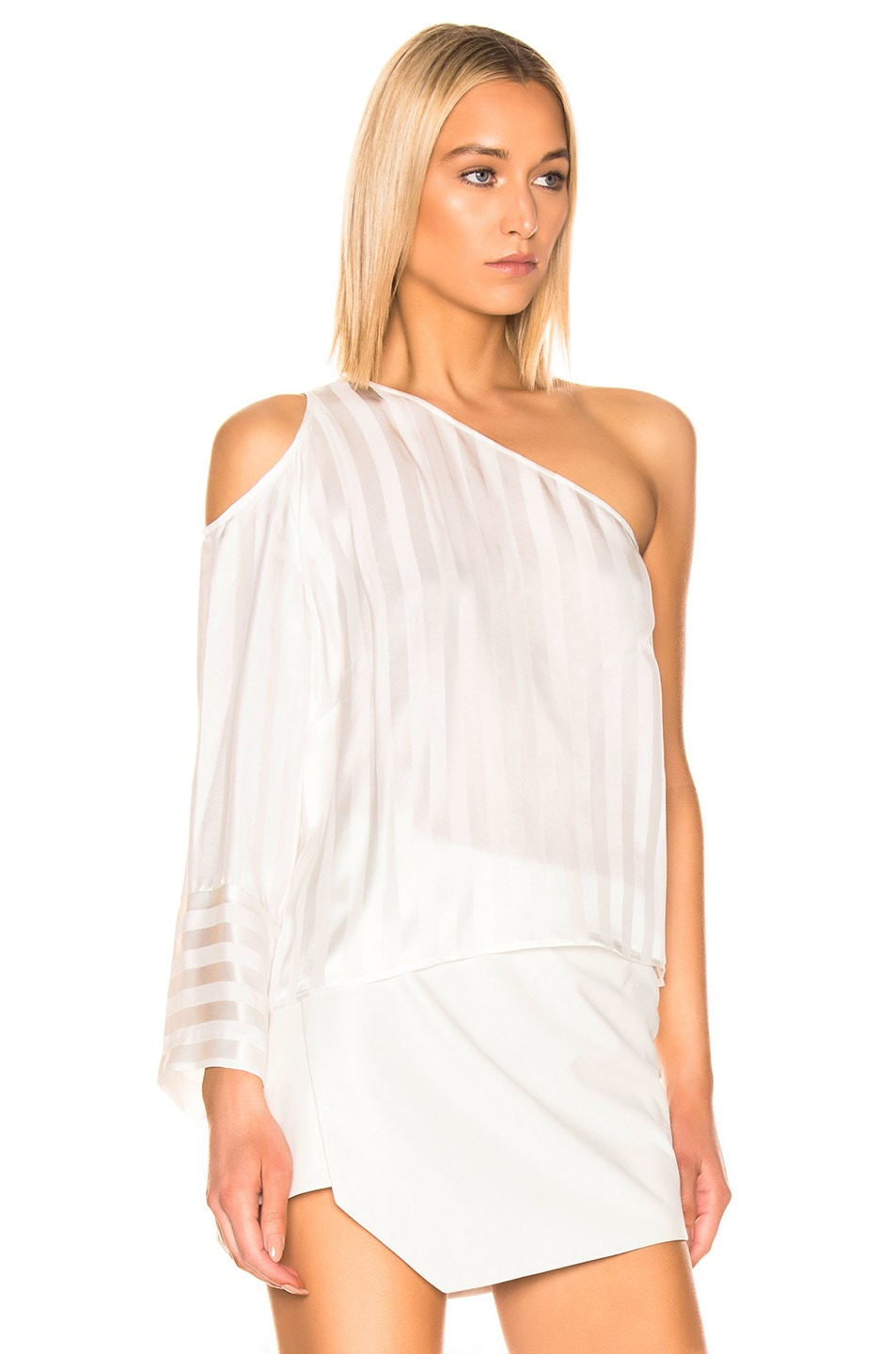 Image 2 of Michelle Mason One Sleeve Cut Out Top in Ivory