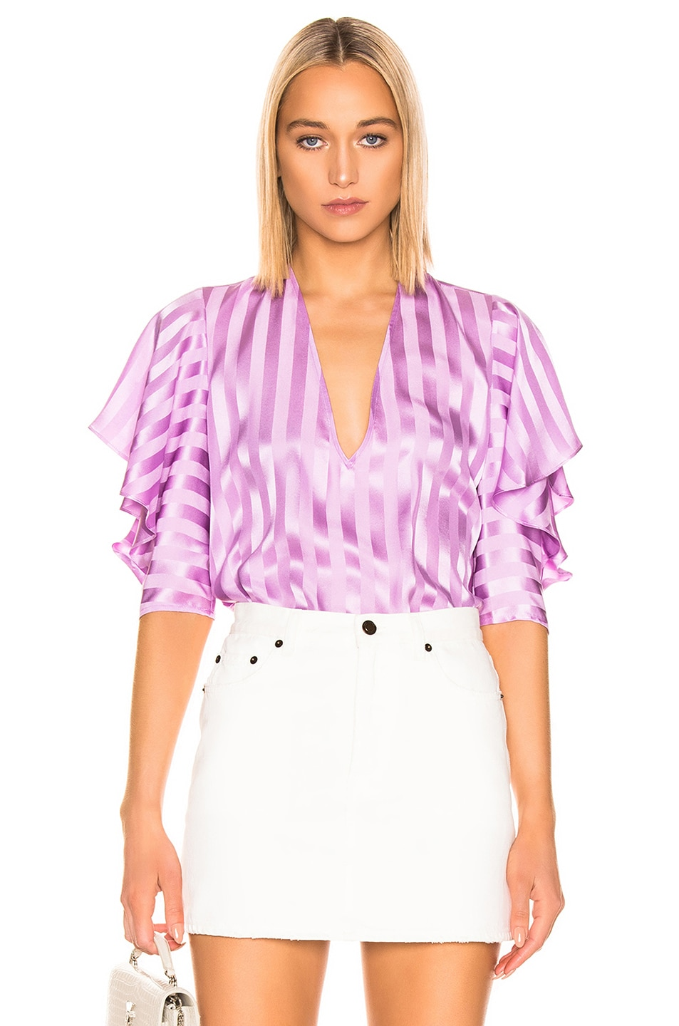 Image 1 of Michelle Mason Ruffle Sleeve Top in Lilac