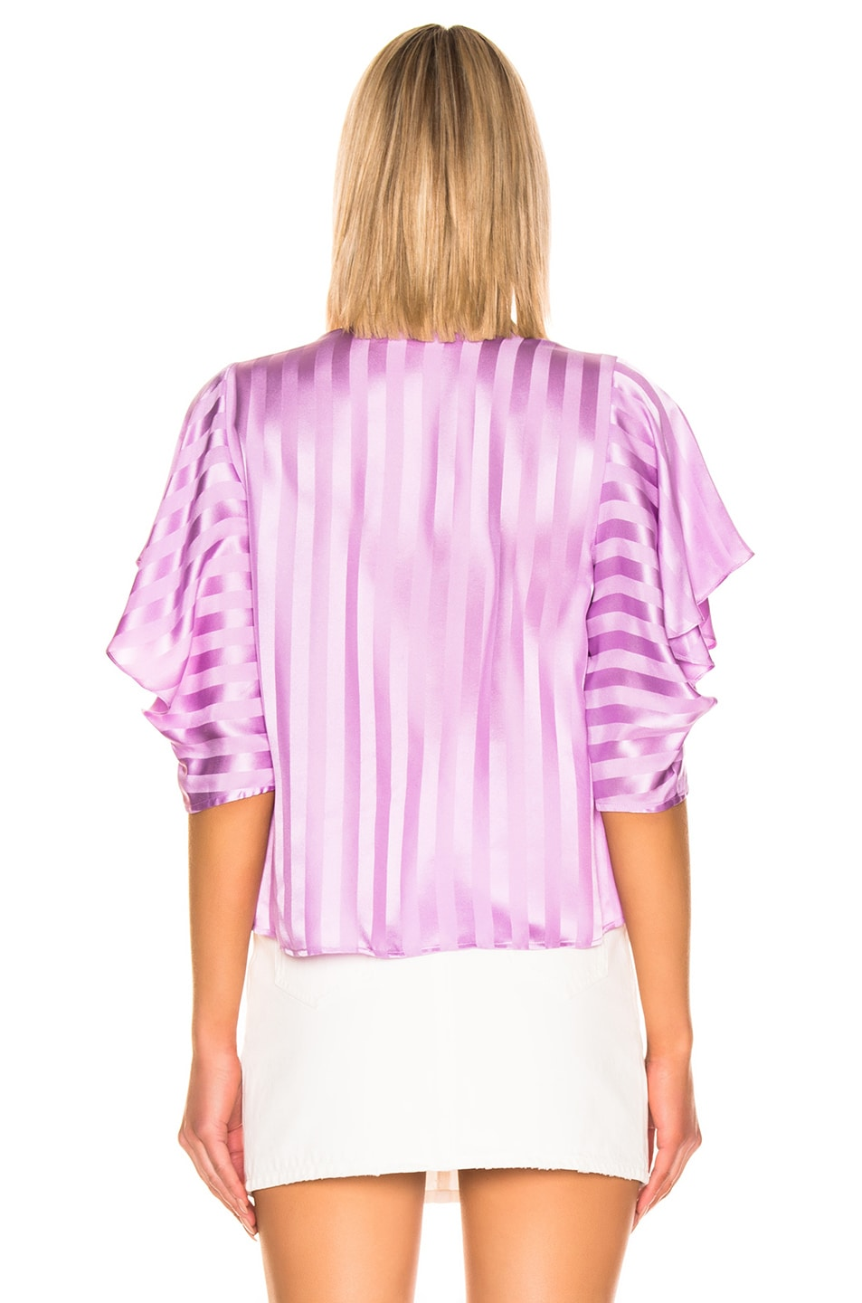 Image 3 of Michelle Mason Ruffle Sleeve Top in Lilac