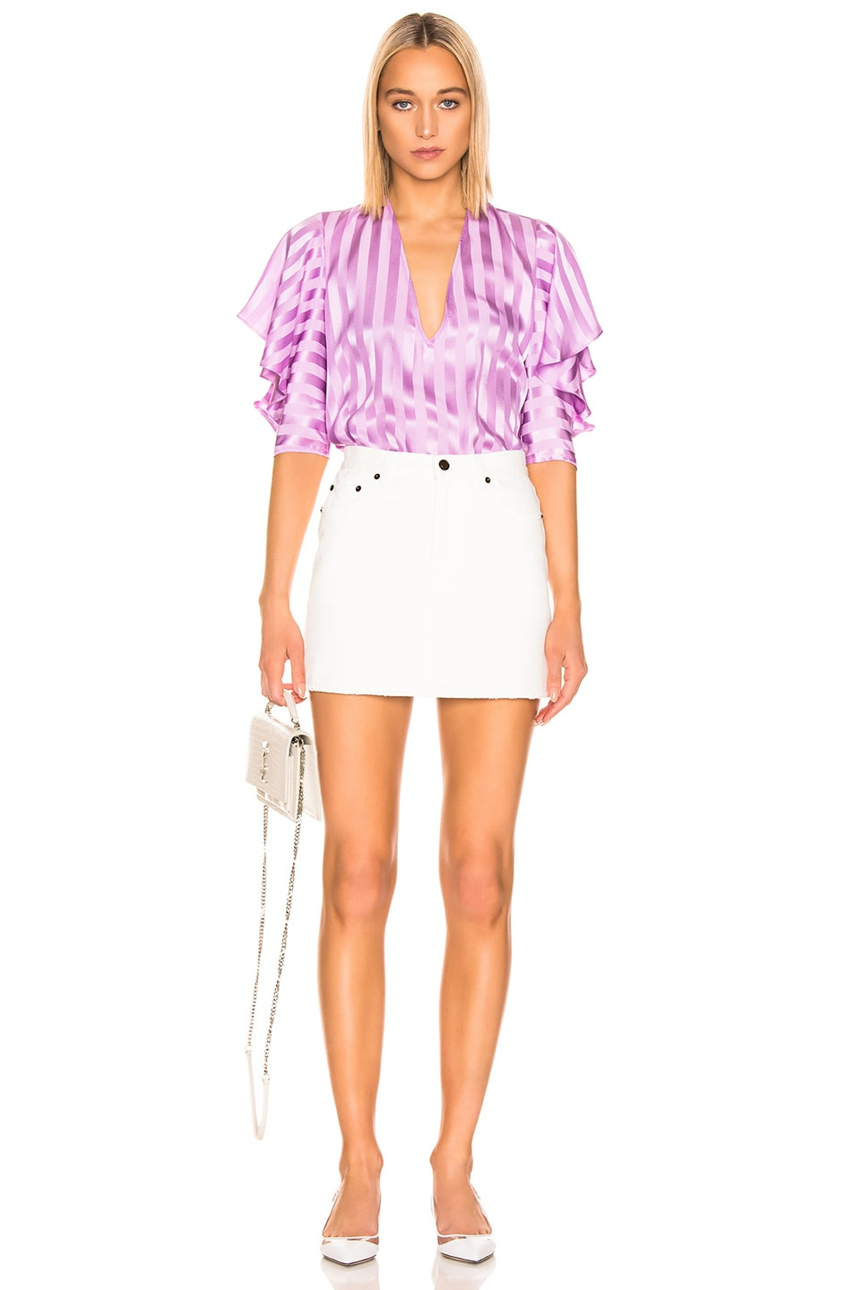 Image 4 of Michelle Mason Ruffle Sleeve Top in Lilac