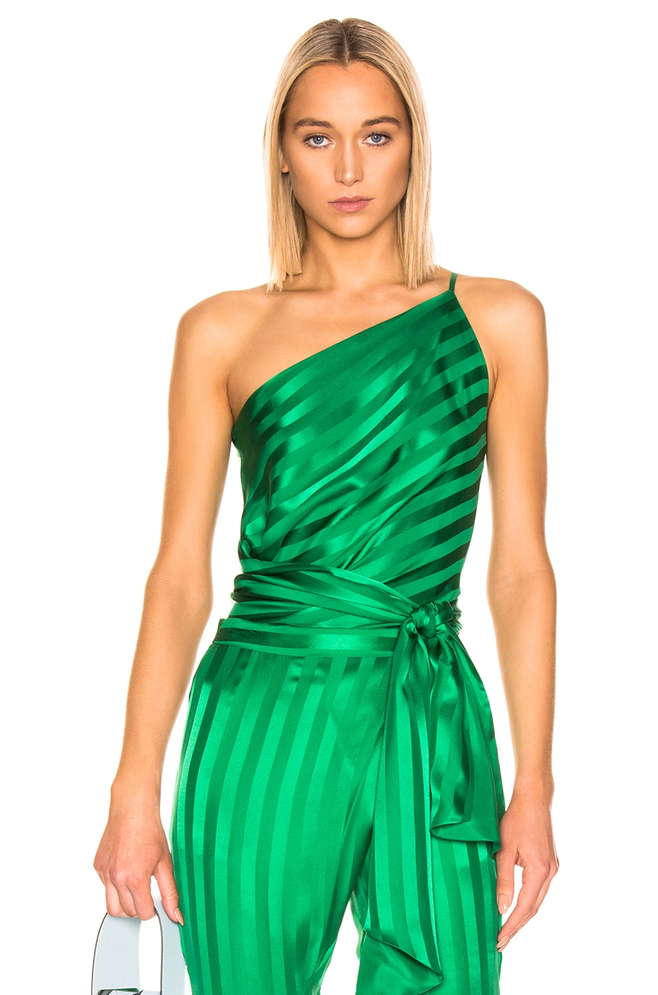 Image 1 of Michelle Mason One Shoulder Tie Top in Green