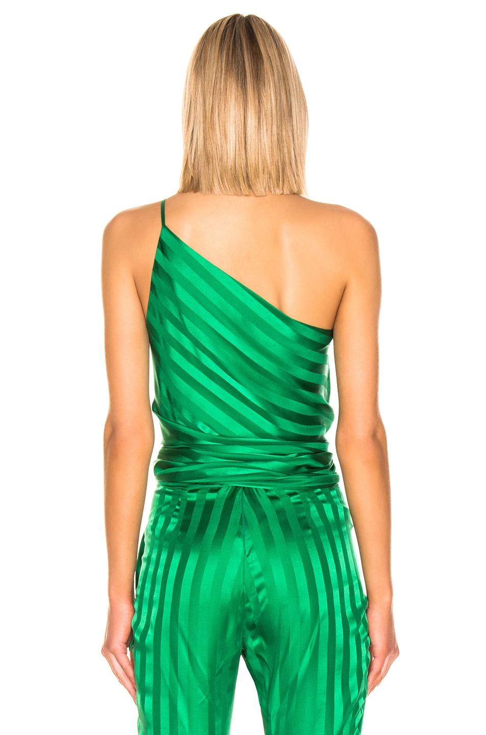 Image 3 of Michelle Mason One Shoulder Tie Top in Green