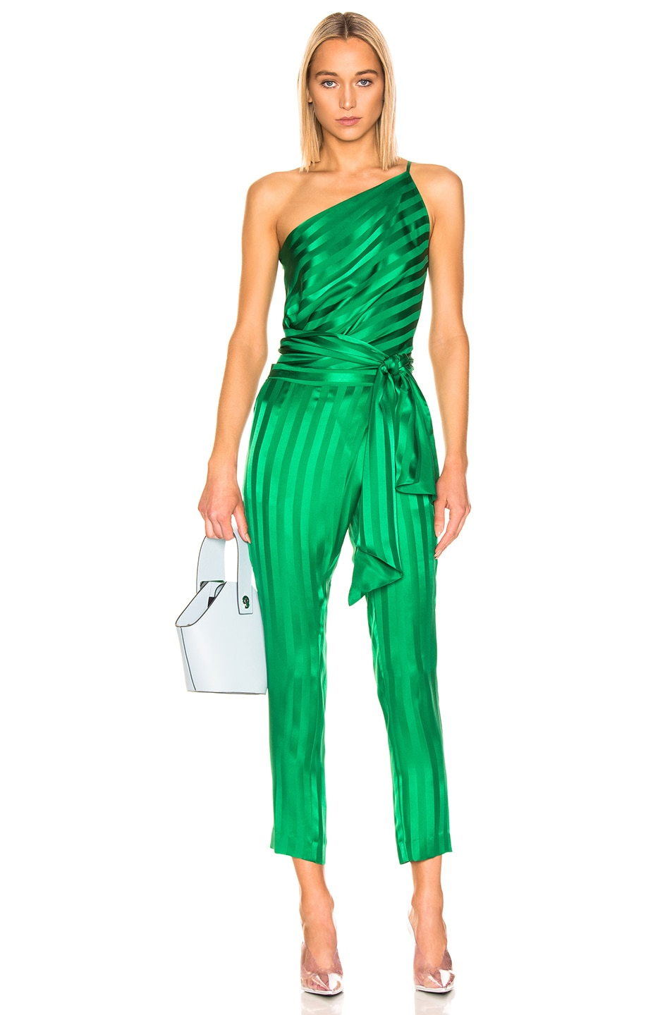 Image 4 of Michelle Mason One Shoulder Tie Top in Green