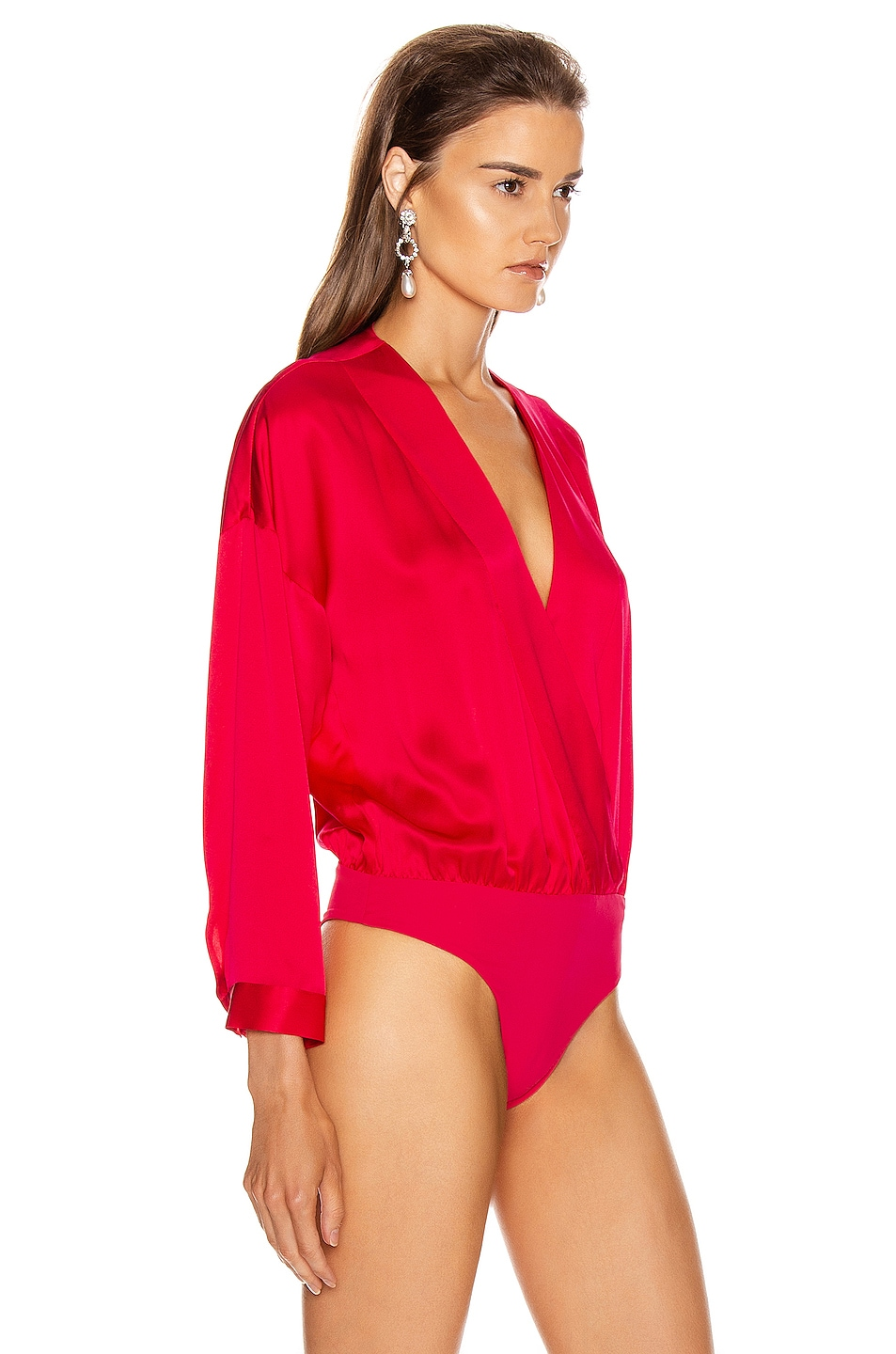 Image 3 of Michelle Mason Oversized Blouse Bodysuit in Peony